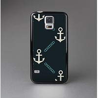 The Blue & Teal Vintage Solid Color Anchor Linked Skin-Sert Case for the Samsung Galaxy S5