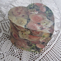Gift Box Romantic Shabby Pink Valentines Heart Box Victorian Valentines Decor Pink Roses and Lace Shabby Decoupage Box