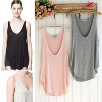 Wo Vest T Shirt Big V-neck Tank Tops Soft Blouse Modal Loose Sleeveless Casual Fashion Summer Long Camisole DCBF229