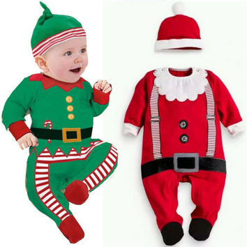 Baby Christmas Clothes Outfits Boy Girl Kids Romper Hat Cap Set Gift for 0-2Y WL