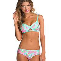 Bikini Lab Band of Roses Peek-A-Boo Bra Top & Hipster Bottom | Dillards.com