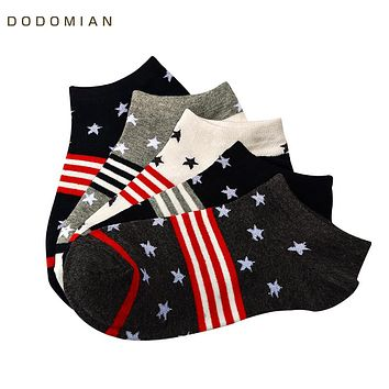 Summer Thin Cotton Boat Socks for Men Colorful Fashion Invisible Ankle Socks Star Print Male Sock Slippers