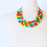 Rainbow layering statement necklace, Multi strand Vintage Lucite necklace, Pin Up Rockabilly Colorful necklace, Must have summer jewelry