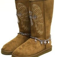 Montana West Boots Fashion Suede Fur-Lined Mid-Calf Rhinestones WIG-BTS003 Brown