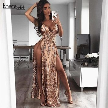 Rompers Womens Jumpsuit 2018 Women Sexy Deep V Off Shoulder Sequin Lace Rompers Female Elegant High Split Backless Ovaralls