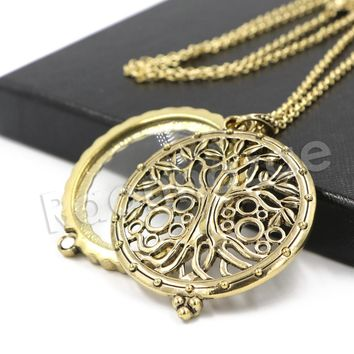 Antique Chain Tree of Life Magnifying Glass Locket Pendant Necklace