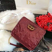 DIOR Tide brand women's plaid D-lock buckle sewing line glossy casual shoulder diagonal package
