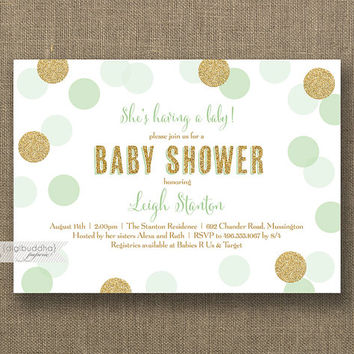 Mint & Gold Baby Shower Invitation Gender Neutral Gold Glitter Mint Green Polka Dots Boy or Girl Sprinkle Invite Printable or Printed- Leigh