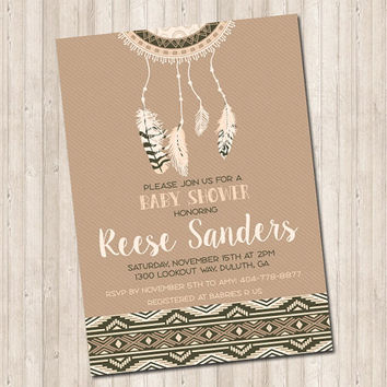 Tribal Boho Feather Dream Catcher Invitation (baby shower - bridal shower)