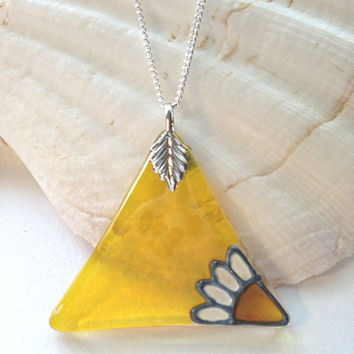 Glass Triangle Pendant in Yellow with a Daisy - Silver Plated Chain & Bail, Glass Necklace