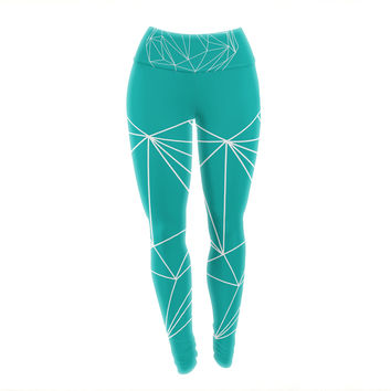 "Mareike Boehmer ""Heart Graphic Turquoise"" Teal Abstract Yoga Leggings"