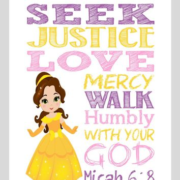 Belle Christian Princess Nursery Decor Wall Art Print - Seek Justice Love Mercy - Micah 6:8 Bible Verse - Multiple Sizes