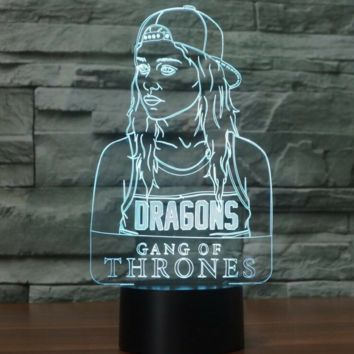 GAME OF THRONES DAENERYS TARGARYEN 3D Lamp 8 Changeable Colors big size [FREE SHIPPING]