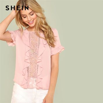 SHEIN Pink Sexy Round Neck Flounce Short Sleeve Ruffle Embroidery Contrast Mesh Button Blouse Summer Women Casual Shirt Top