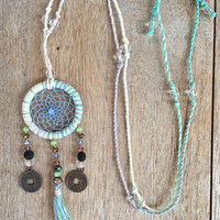 Dreamcatcher Necklace, Dream catcher pendant, Long Dreamcatcher, Textile Dreamcatcher, Boho Necklace