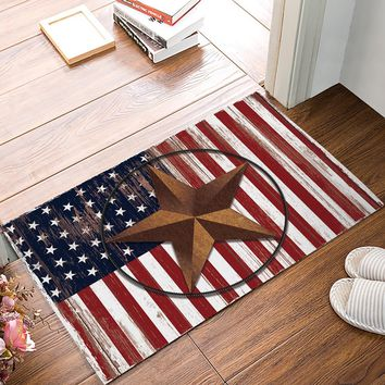 Autumn Fall welcome door mat doormat Retro Vintage American Flag Primitive Star s Indoor Kitchen Floor Bathroom Entrance Rug Mat Carpets Home Bath s AT_76_7