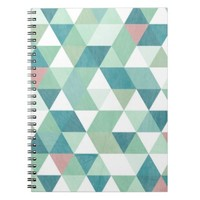 Triangle Geometric Teal Pink Spiral Notebook