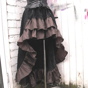 Black 100% cotton skirt Steampunk Skirt Bustle Gothic Saloon Skirt Black Dark Brown Ruffle Skirt Overskirt Mini maxi