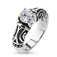 Tribal Princess - FINAL SALE White round cut cubic zirconia solitaire tribal design stainless steel ring
