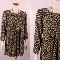 Vintage 90s -Black & Mustard Yellow Rose Floral - Long Sleeve - Pleated Waist - Short Babydoll Dress - Romantic Grunge