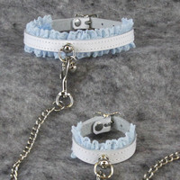 PrittenPaws Lace Mini Kitty Bell Collar and Cuff Set Combo - Available in Baby Blue Pink Lavender Purple White & Black Leather 5642
