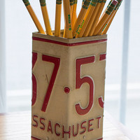 Massachusetts License Plate Pencil Holder - Pencil Cup - Pen Cup - Unique Pencil Cup - Desk Accessories - Office - New Job Gift - Pen Holder
