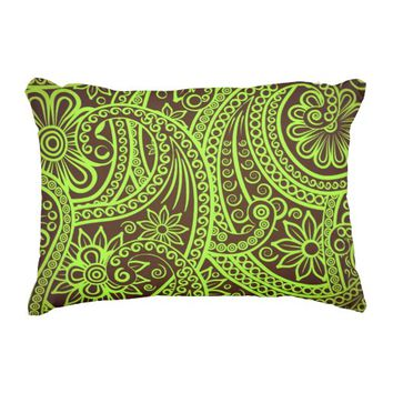 16 X 12 Lime Green & Brown Accent Pillow