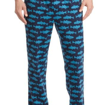 Nautica Men's Fish Print Knit Pajama Pants, Navy