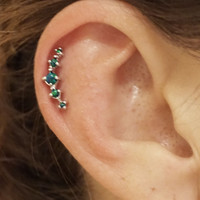 5 Blue Green Fire Opals Stud Cartilage Earring Piercing16g