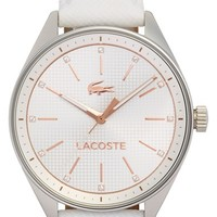 Women's Lacoste 'Philadelphia' Leather Strap Watch, 39mm - White