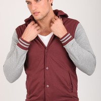 hooded varsity fleece