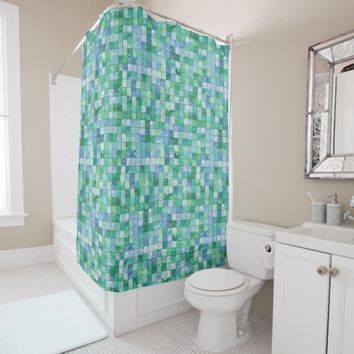 Shiny Pastel Blue Green Glass Block Tile Mosaic Shower Curtain