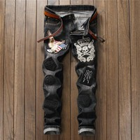 Slim Skull Embroidery Stylish Pants Jeans [10766091651]