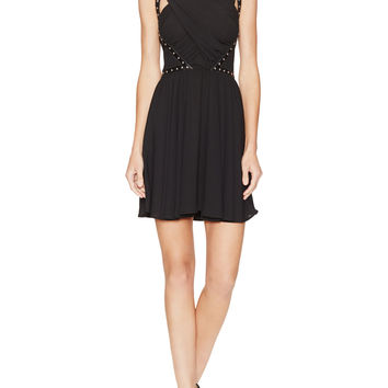 Studded Leather Strapped Draped Dress