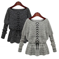 Women's Fashion Loose Bat Wing Long Sleeve Lace-up O-Neck Knitted Sweater Shirt - 2 Great Colors!