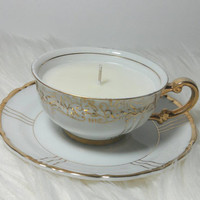 Vintage Fine Seyei Japan 1030 Half Cup (miniature) Teacup Scented Soy Wax Candle