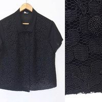 Vintage 1950s Blouse - 50s Blouse - Black Lace Top - Mid Century - Large