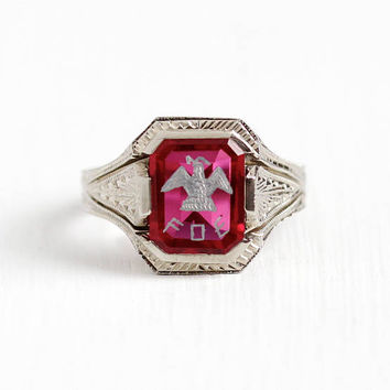 Vintage 10k White Gold Fraternal Order of Eagles Created Ruby Ring - Art Deco 1930s Size 7 1/4 FOE Bird Fraternity Wheat Design Fine Jewelry