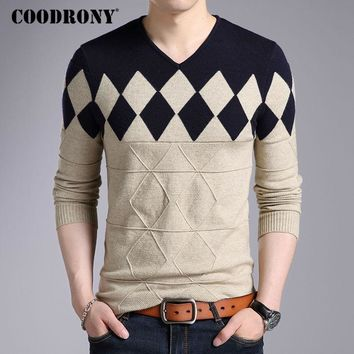 Fashionable Cashmere Wool Sweater  For Men / Winter Slim Fit Pullover
