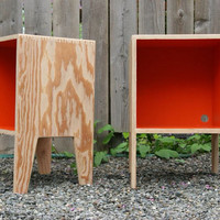 ORANGE bedside table by GrainWoodwork on Etsy