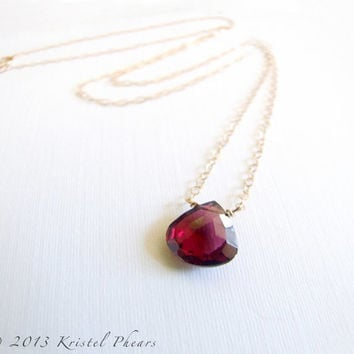 SALE - Garnet necklace, January Birthstone gift 14k gold-filled or sterling large wine red natural gemstone minimal solitaire bridesmaid