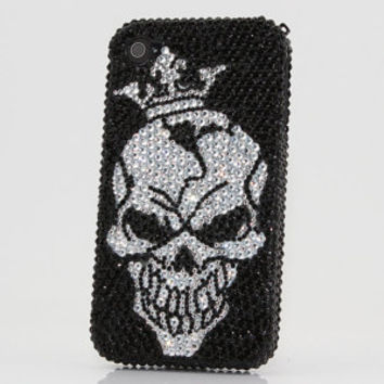 iphone 5 5S 5C 4/4S - Samsung Galaxy S3 S4 Note2 Note 3 Handcrafted Case Cover 3D Luxury Bling Crystal Diamond Sparkle Rocky Skull King_379