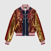 Gucci Embroidered sequin and velvet bomber