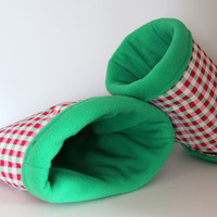 Reinforced Hedgehog Pouch, Rat Hidey, Guinea Pig Snuggle Sack - Green and Pink Plaid