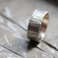 Tree Bark White Gold Wedding Band by tinahdee on Etsy