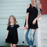 Mommy Open Shoulder Butterfly Sleeve Tunic Dress- Black