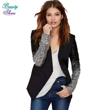 New Autumn 2016 PU Leather Spliced V Neck Motorcycle Suit Jacket Sequined Design Blazer Women Full Sleeve Slim Blazer Feminino