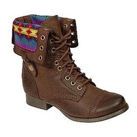 SM New York -Women's Jaclyn Cuffed Blanket Combat Boot - Brown-Shoes-Womens-Boots