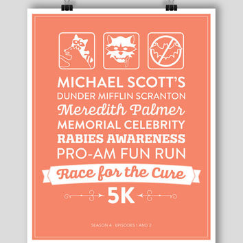 The Office Season 4 Episodes 1-2 8x10 Poster - Michael Scott Rabies Awareness Fun Run #theoffice #dundermifflin
