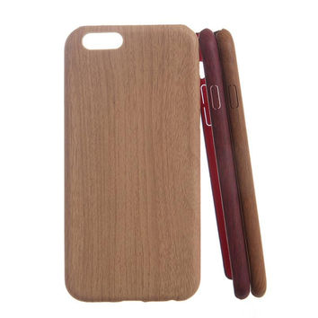 Luxury Wooden Pattern TPU Cover For Apple iPhone 6 Case Wood Grain Soft Back Shell Phone Cases